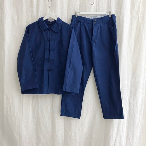 "FRANCE ""L'Anticher""French-China""cotton work jacket&pants-set up- blue NEW"