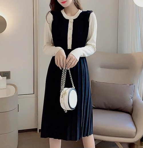 bycolor knit dress 2color