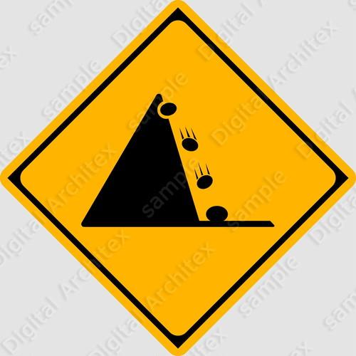 【イラスト】落石のおそれありの 交通標識