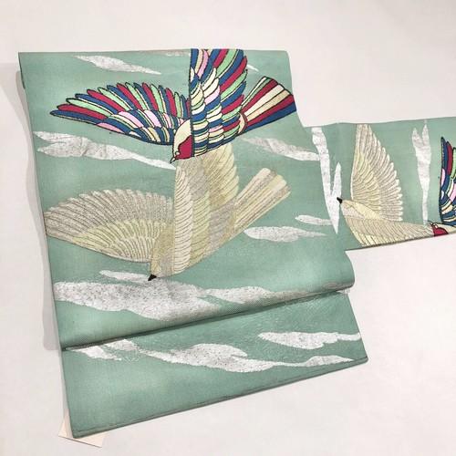 夏帯*紗*浅葱色にレインボーの羽ばたく鳥 アンティーク名古屋帯