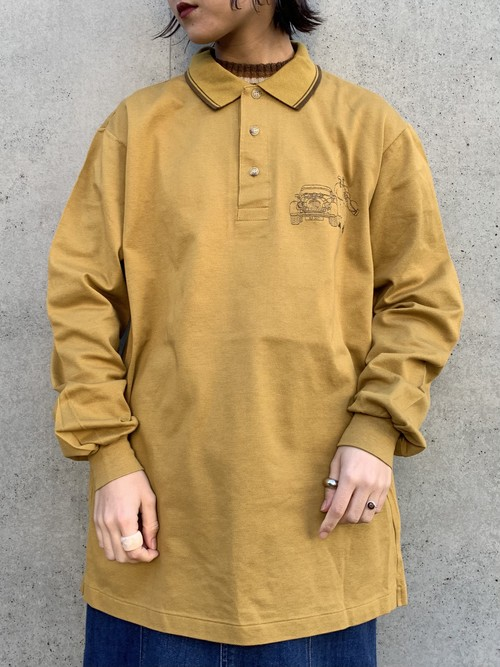 (TOYO) one point embroiled long polo shirt