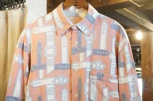 70's unknown belt-buckle printed cotton flannel Shirt