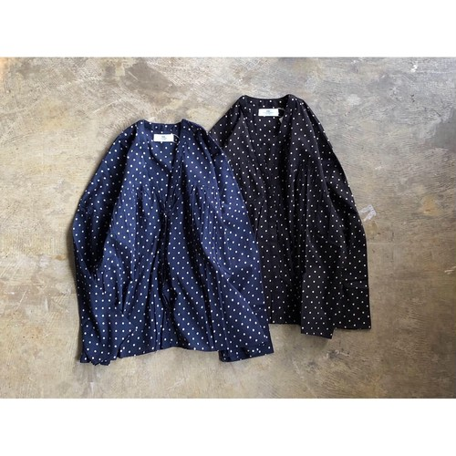 SOIL(ソイル) VOILE DOT FLY FRONT GATHERED SHIRT NSL19061