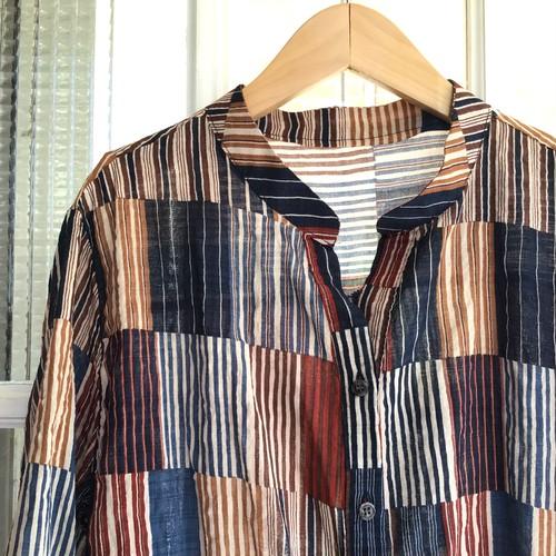パッチワーク風プリントシャツ【B9311】
