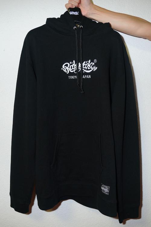 "Rakugaki ""MAIN LOGO"" Embroidery Hoodie Black × White"