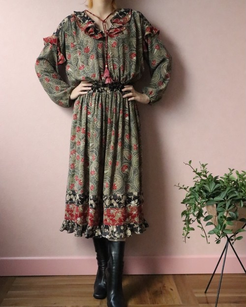 70's Diane Freis frill dress