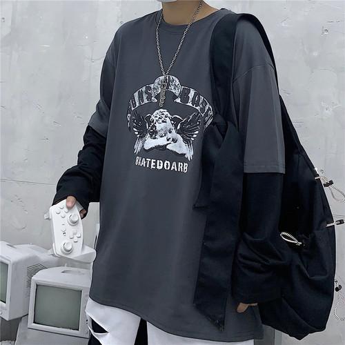 【トップス】レトロ長袖切り替えアルファベットTシャツ23288893