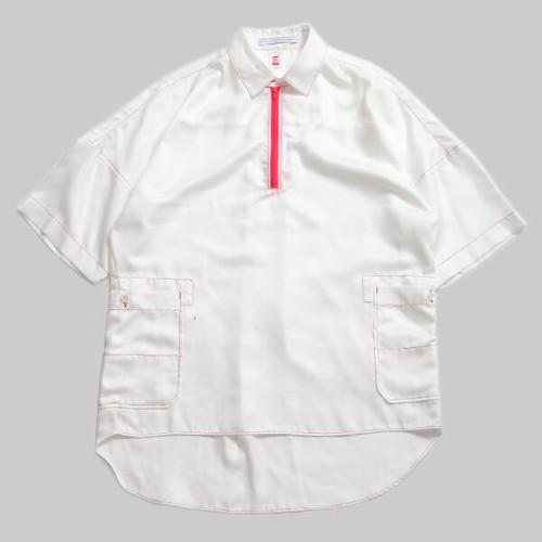 CC HALFZIP WORK  SHIRTS-WHITE