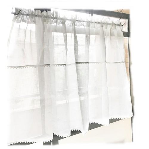 ♥リネンガーゼ【2段トーションレース付き】ロッドポケットカーテン W1146×H70  現品限りセール