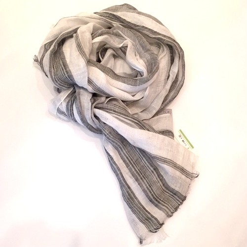 LINEN STRIPE STOLE WHITE*GRAY*BLACK