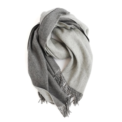 THE INOUE BROTHERS/Double Faced Brushed Large Stole/Grey