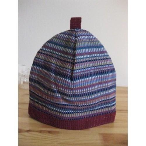 <フェアトレード>ティーコジー/ティーポット カバー ストライプ 手織り ネパール WSDO