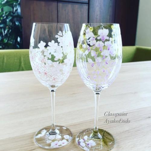 【両親プレゼント・結婚式乾杯記念日グラス・ウェディングギフト・結婚祝い】藤&桜 /ペアクリスタルワイングラス