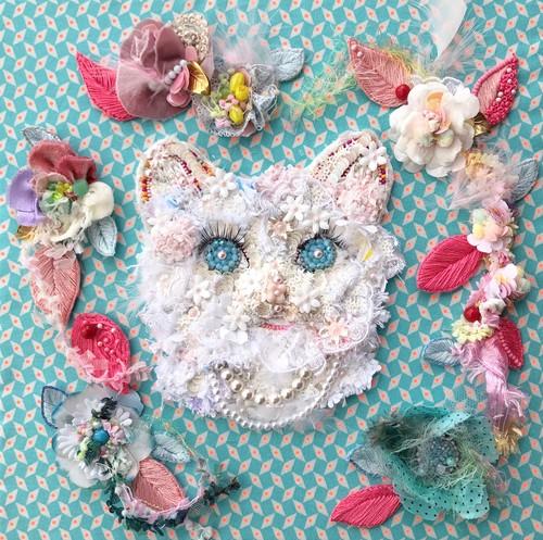 ビーズ 刺繍アート Miaou Miaou 〜Les fleurs〜 猫とお花たち