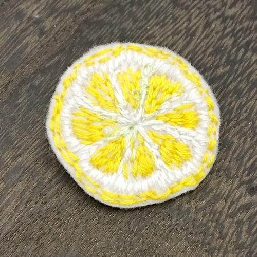 ゆる刺繍ブローチ【レモン】