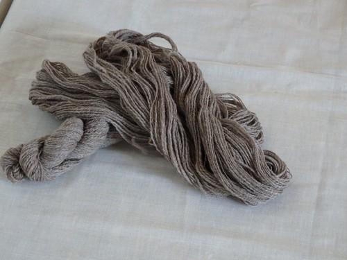 手紡ぎ毛糸 フランス 薄茶色 lot-A01-5 21g (total 158g)