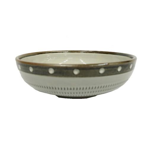 小石原焼 五寸浅鉢 トビカンナフチ茶 白のドット 上鶴窯