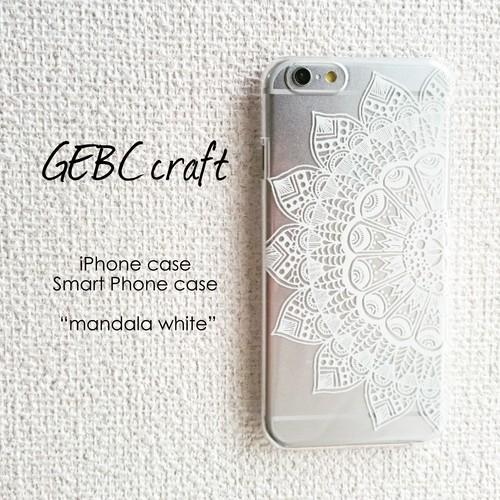 【機種別オーダー可】オリジナルスマホケース、カバー「mandala white」