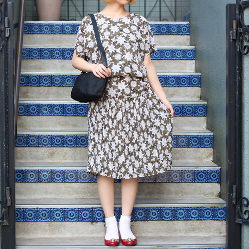 RETRO PATTERNED ALL OVER HALF SLEEVE ONE PIECE /レトロ古着総柄半袖ワンピース