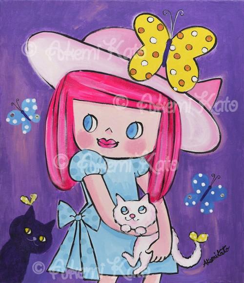 チョウチョと猫と大きな帽子のガールButterflies & cats & a girl with a big hat.