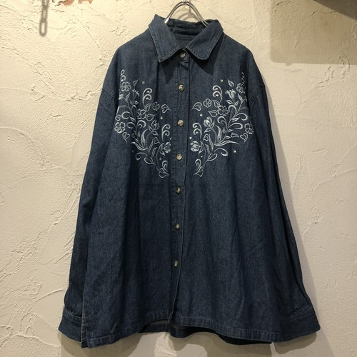 (PAL) flower embroidery denim l/s shirt