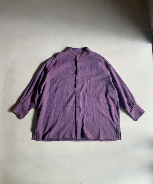 HOMELESS TAILOR STAND COLLAR SHIRT MIX BLUE