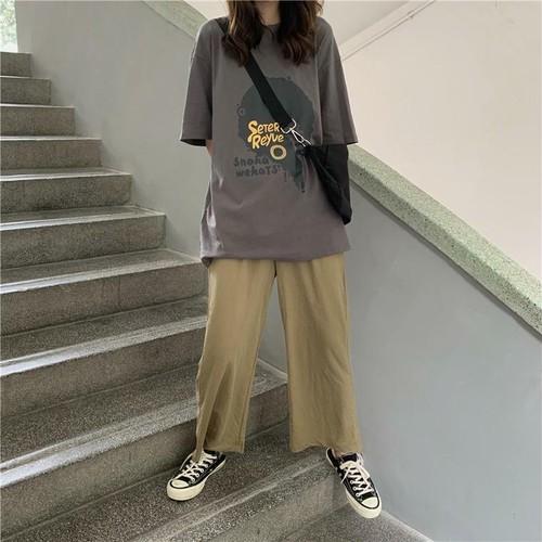 【送料無料】 カジュアル セットアップ♡ プリント Tシャツ + ワイドレッグ ストレート パンツ メンズライク