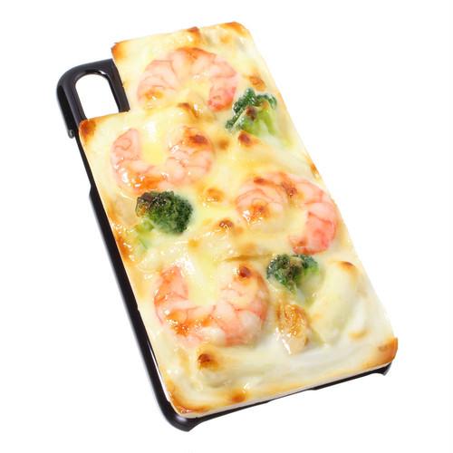[8076]食品サンプル屋さんのスマホケース(iPhoneX:グラタン[ブラック])【メール便不可】