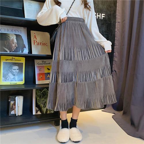 【ボトムス】レトロファッション合わせやすいAラインスカート
