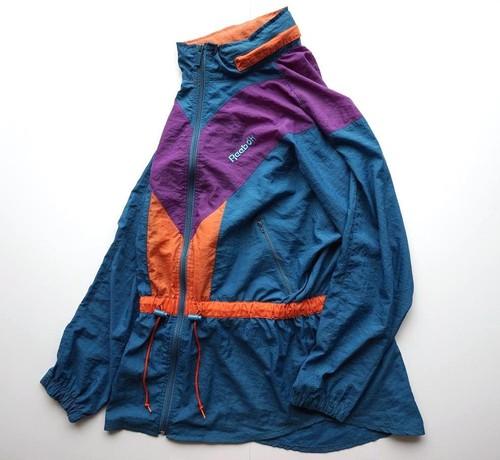 1990's [Reebok] ドルマンスリーブ&フィッシュテール ウィンドブレイカー 表記(WMS L) リーボック