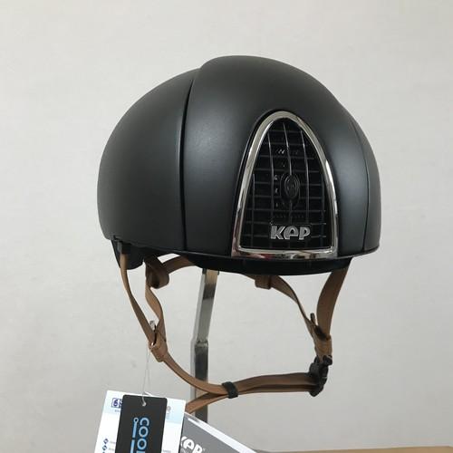 Kep 競馬調教用 ヘルメット ブラック/顎紐 キャメル