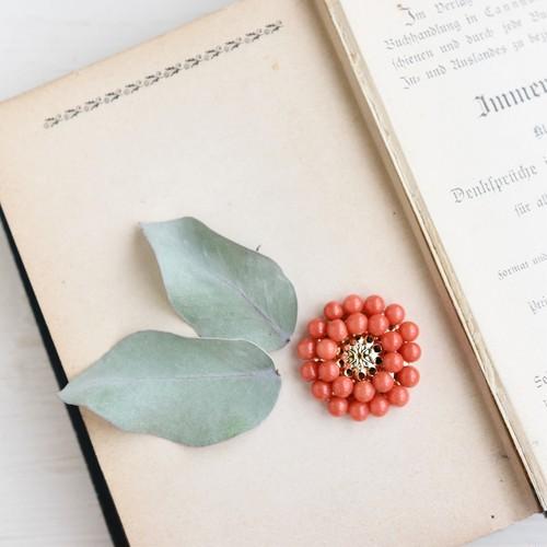 【数量限定・ブローチ】天然色 本赤珊瑚 レトロなお花