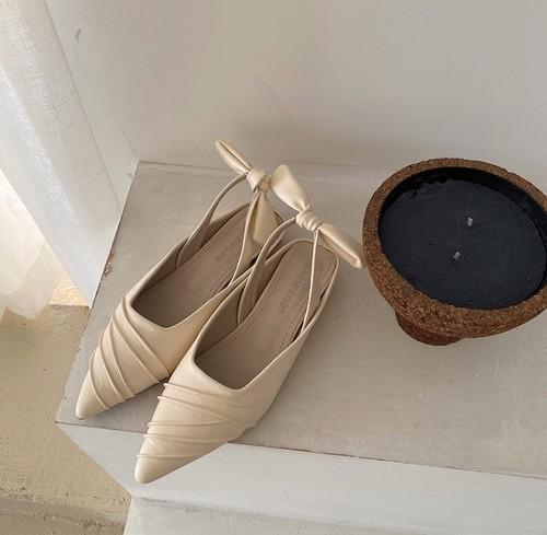 レディース サンダル パンプス スリングバックシューズ りぼん ポインテッドトゥ ローヒール 春夏 履きやすい 黒 ブラック アプリコット 白 ホワイト 旅行 リゾート 上品 韓国