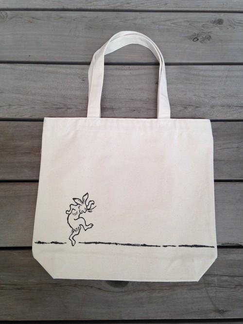 鳥獣戯画トートバッグ(白・兎)