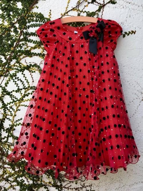 子供服 5歳 キッズワンピース ドット 水玉 リボン ワンピース