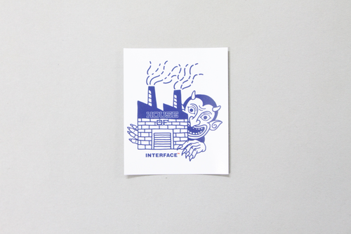 """HOUSE OF ""  STICKER   -WHT x BLU-"