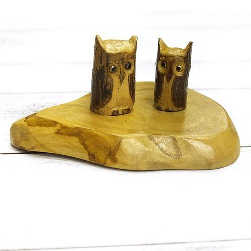 【KEN】木彫りペアフクロウの置物/インテリア
