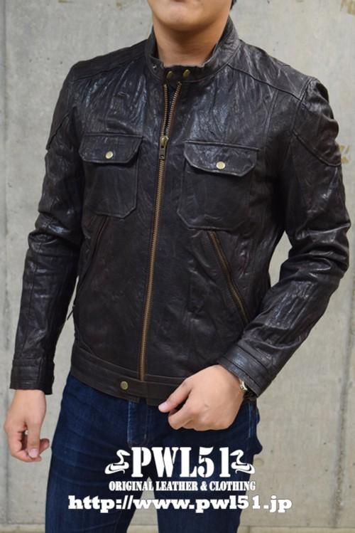 レザージャケット ライダースジャケット 本革 シングル ブラック ラム皮革 メンズ