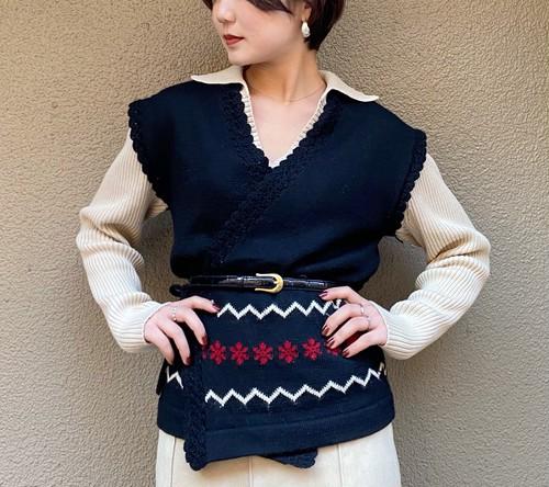 (PAL) flower line wrap knit vest