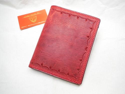 A6サイズ ブックカバー 赤Wステッチ レッド×イエロー オイルレザー デザイン刻印