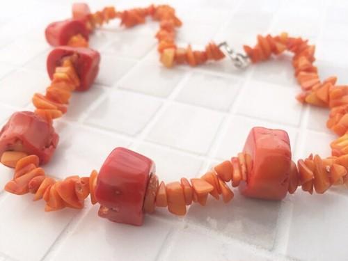 パワーストーン◆マンゴー色の珊瑚ショートネックレス