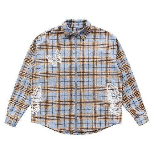 MAISON EMERALD Butterfly Plaid Shirts LIGHT BLUE × BROWN