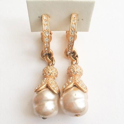 pearl & rhinestone dangle earring[e-990]