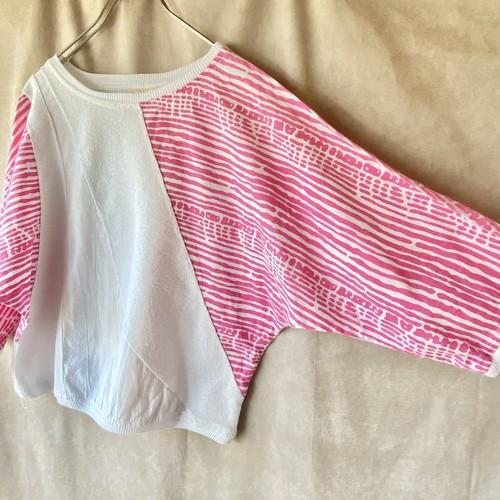 70s USA vintage pink&white cotton tops/ピンクのデザインボーダーの切り替えカットソー