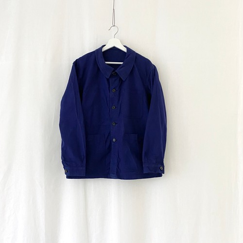 """FRANCE 70s vintage""""FRENCH ARMY""""ink blue cotton twill work jacket Manufactured by SAINT JAMES/S.N.C.-DEAD STOCK/ONE WASHED-"""