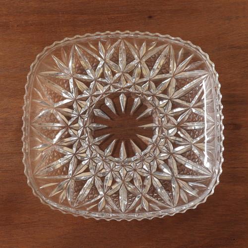 昭和レトロ 切子 ガラス 角大皿