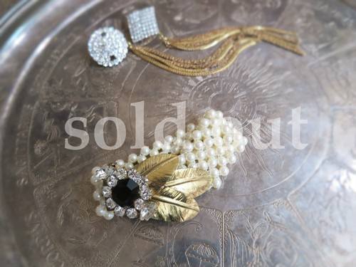 vintage bracelet feather and pearl <BL-FEBR1>