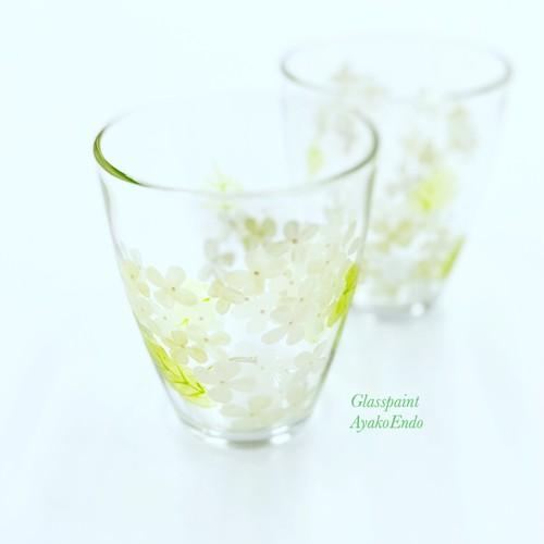 【紫陽花】5月の花 白緑アジサイあじさい絵付けグラス1個/父の日ギフト・古希祝い・誕生日プレゼント