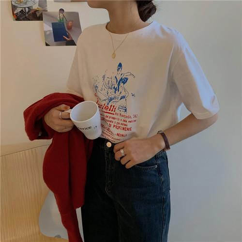 フロントプリント半袖Tシャツ #RD7555