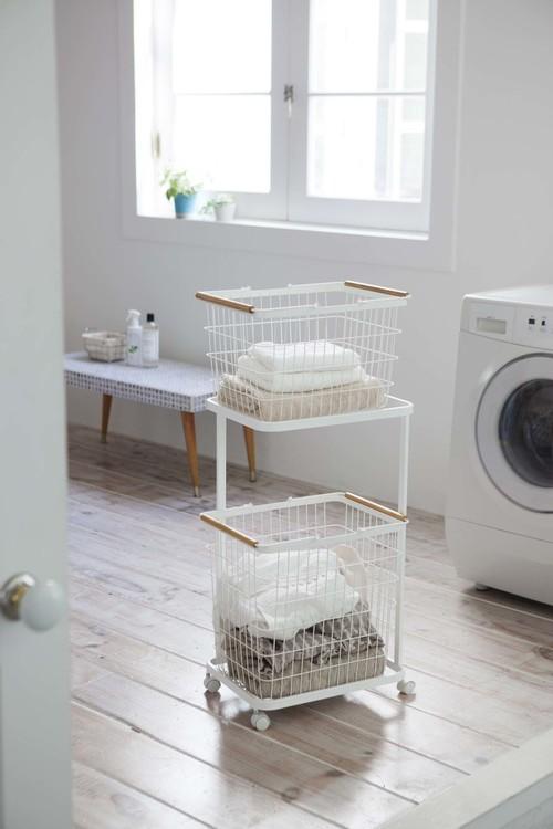 バスルームをスタイリッシュに!!朝の洗濯物を楽にするランドリーワゴンセット